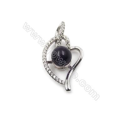 925 sterling silver platinum plated zircon pendants -D5551 16x30mm x 5pcs  disc diameter 9mm