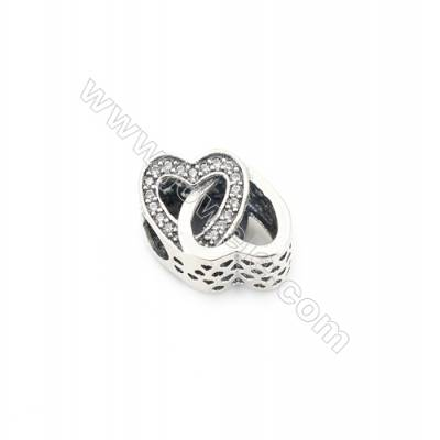 Sterling Silver Cubic Zirconia European Beads, x 1 piece, Interlocking love, Size 16x11x9 mm, hole 4.5mm