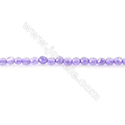 Dyed Malaysian Jade Beads Strand  Faceted Round  diameter 2mm  hole 0.4mm  15~16""