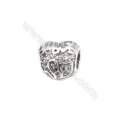 Sterling Silver Cubic Zirconia European Beads, x 1 piece, heart, Size 12x11x8 mm, hole 4.5 mm