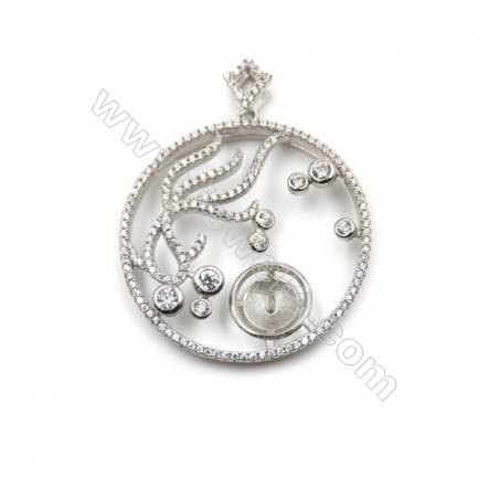 Sterling silver 925 platinum plated zircon pendant with pearl, 33mm, Tray 12mm, x2pcs