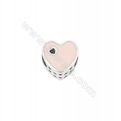 Sterling Silver Cubic Zirconia European Beads, x 1 piece, Pink Heart, Size 10x10x17 mm, hole 4.5 mm
