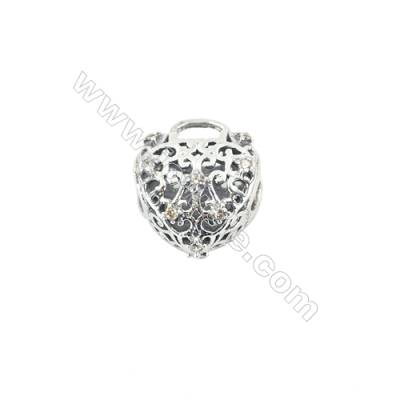 925 Sterling Silver Cubic Zirconia European Beads, x 1 piece, Safe & Heart, Size 12x10x8 mm, hole 4.5 mm