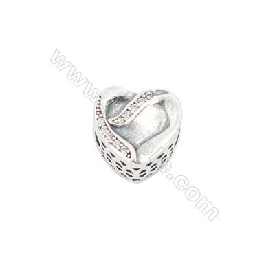 Sterling Silver Cubic Zirconia European Beads, x 1 piece, Heart, Size 11x11x8 mm, hole 4.5 mm