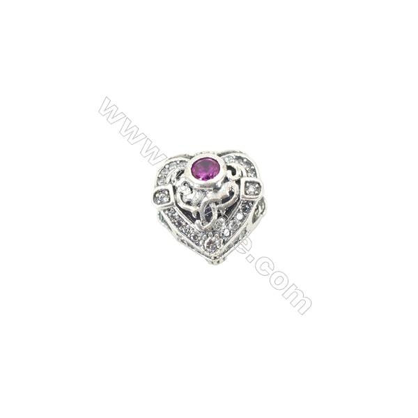 Sterling Silver Red Cubic Zirconia European Beads, x 1 piece, Heart, Size 11x10x8 mm, hole 4.0mm