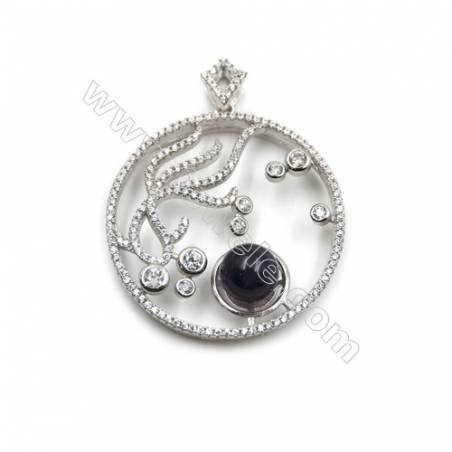 Sterling silver 925 platinum plated zircon pendant with pearl-D5618 33mm x2pcs  Disc Diameter 12mm