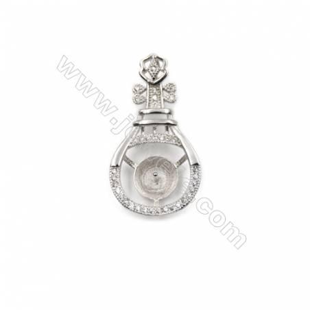 925 Sterling silver platinum platedpearl pendantfor women, 15x28mm, x 5pcs, Tray 9mm