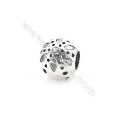 Sterling Silver Cubic Zirconia European Beads, x 1 piece, Daisy, diameter 10 mm, hole 4.5mm