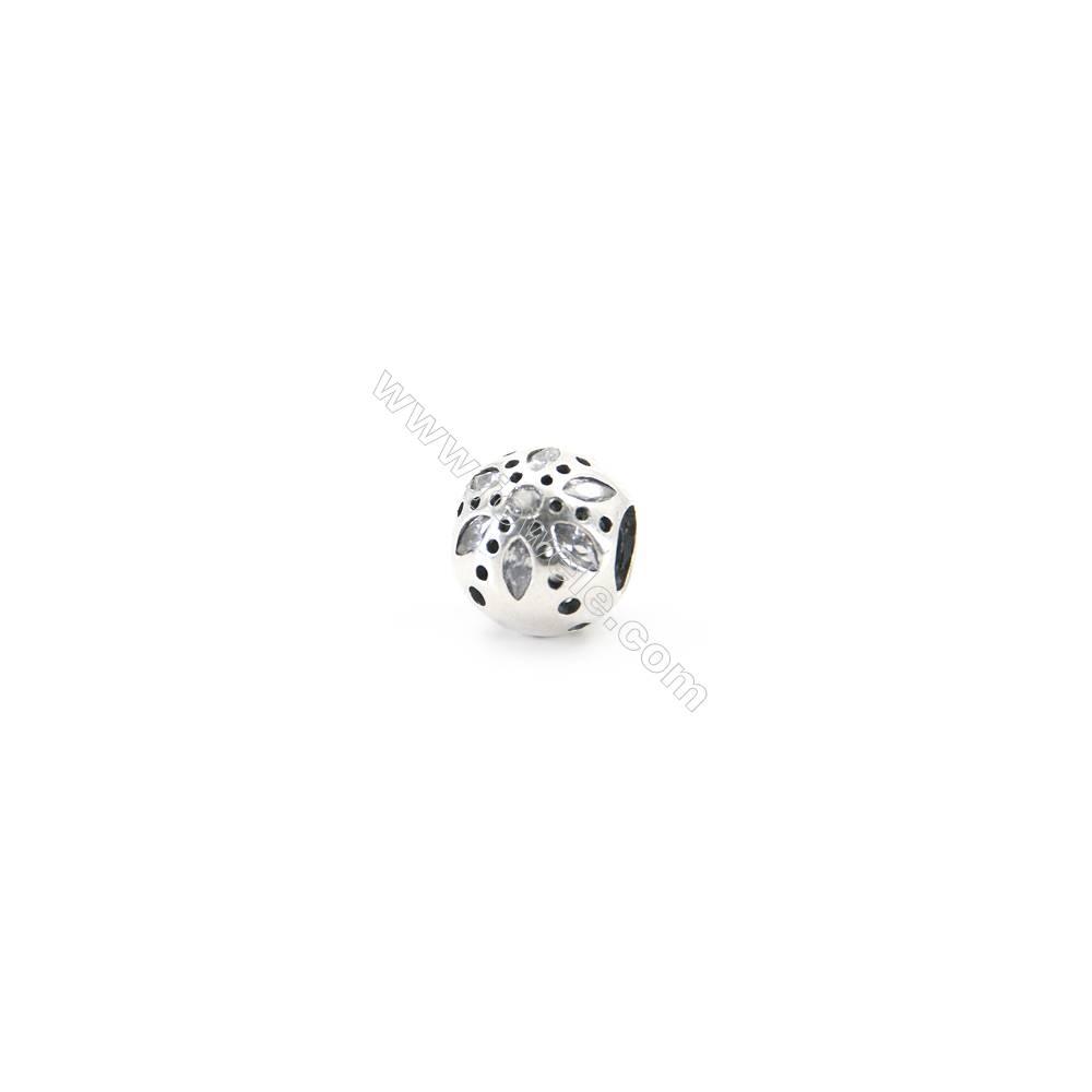 Sterling Silver Cubic Zirconia European Beads, x 1 piece, Daisy, diameter 10 mm, hole 4.5mm