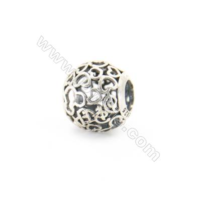 Sterling Silver European Beads, x 1 piece, Heart & Hollow Sphere, diameter 11 mm, hole 4.5 mm