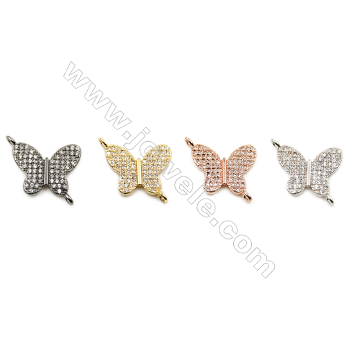 14x17mm  Brass Connector, Butterfly, CZ Micropave, Thick 1.5mm, Hole 1mm, 20pcs/pack