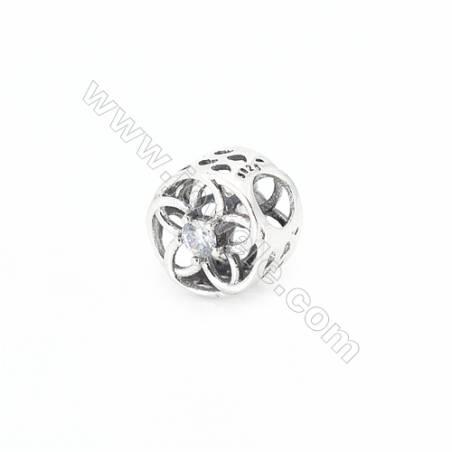 Sterling Silver Cubic Zirconia European Beads, x 1 piece, Floral & Hollow Cylinder, Size 10x10 mm, hole 4.5 mm