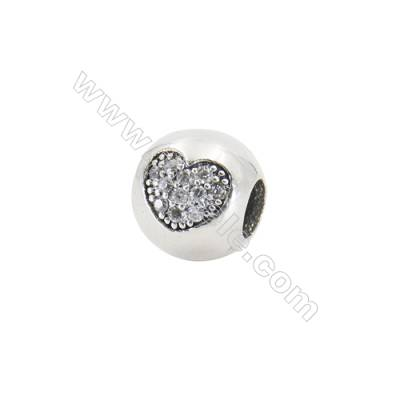 Sterling Silver Cubic Zirconia European Beads, x 1 piece, Heart & Sphere, diameter 10 mm, hole 4.5 mm