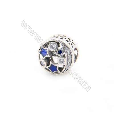 Sterling Silver Cubic Zirconia European Beads, x 1 piece, Star & Moon, Size 11x9 mm, hole 4.5 mm