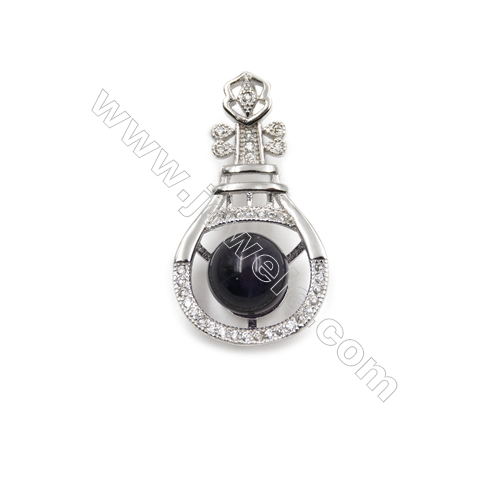 925 Sterling silver platinum plated pearl pendant for women -D5453 15x28mm x 5pcs and Disc Diameter 9mm