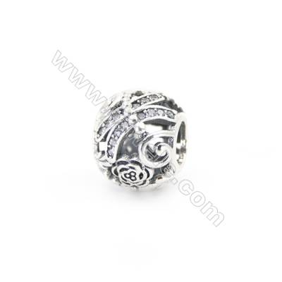 Sterling Silver Cubic Zirconia European Beads, x 1 piece, Hollow Dragonfly & Rose, diameter 11 mm, hole 4.5mm