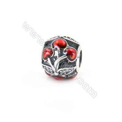 Sterling Silver Cubic Zirconia European Beads, x 1 piece, Hollow Cherry, diameter 11 mm, hole 4.5mm