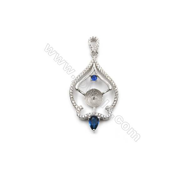 925 Sterling silver platinum plated zircon pendants findings, 20x35mm, x 5pcs, Tray 9 mm