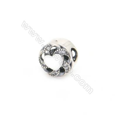 Sterling Silver Cubic Zirconia European Beads, x 1 piece, White heart & Cylinder, Size 11x9 mm, hole 4mm