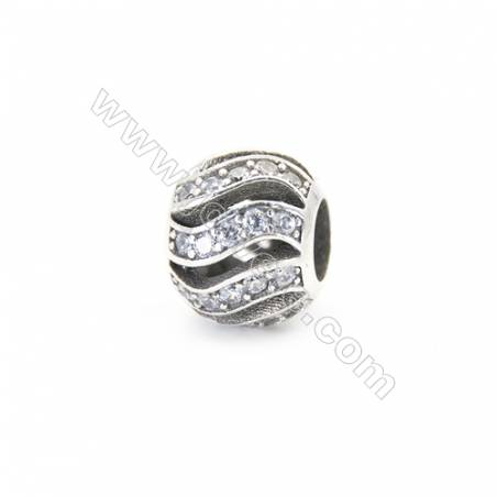 Sterling Silver Cubic Zirconia European Beads, x 1 piece, Wave & Hollow Sphere, diameter 10 mm, hole 4.5 mm