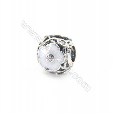 Sterling Silver Cubic Zirconia European Beads, x 1 piece, White Floral, diameter 11 mm, hole 4.5 mm