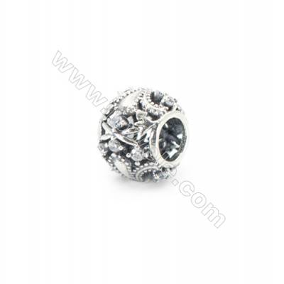 Sterling Silver Cubic Zirconia European Beads, x 1 piece, Roman empire, Hollow sphere, diameter 10 mm, hole 4.5 mm