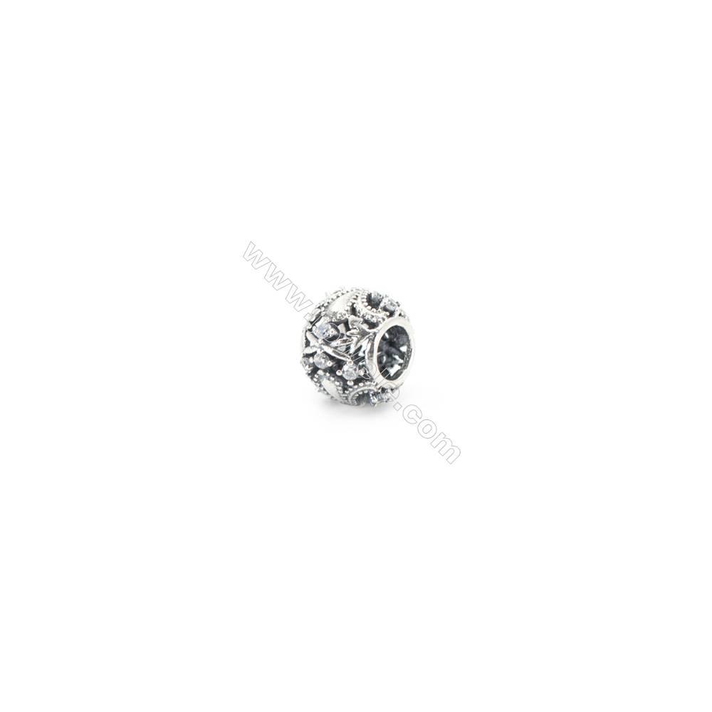Sterling Silver Cubic Zirconia European Beads, x 1 piece, Roman empire, Hollow sphere, diameter 10 mm, hole 4.5 mm