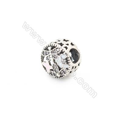 Sterling Silver Cubic Zirconia European Beads, x 1 piece, Hollow Butterfly & Floral, Size 11x8 mm, hole 4.5mm