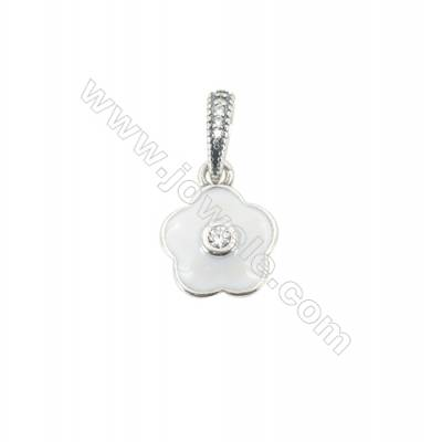 Sterling Silver Cubic Zirconia European Beads, x 1 piece, White Floral, diameter 11 mm