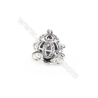 Sterling Silver Cubic Zirconia European Beads, x 1 piece, Pumpkin Carriage, diameter 13 mm, hole 4.5 mm