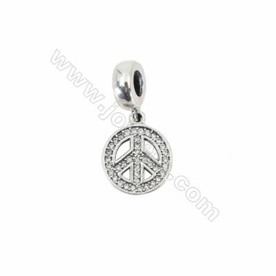 Sterling Silver Cubic Zirconia European Beads, x 1 piece, Peace symbol, diameter 12 mm