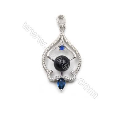 925 Sterling silver platinum plated zircon pendants findings -D5716 20x35mm x 5pcs & discs diameter 9 mm