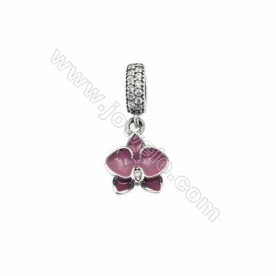 Sterling Silver Cubic Zirconia European Beads, x 1 piece, Orchid, Size 12x13mm