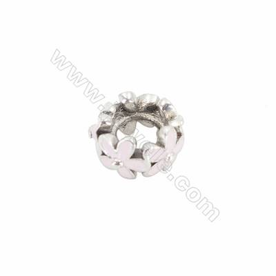 Sterling Silver Cubic Zirconia European Beads, x 1 piece, Garland, Size 10x6 mm, hole 4.5mm