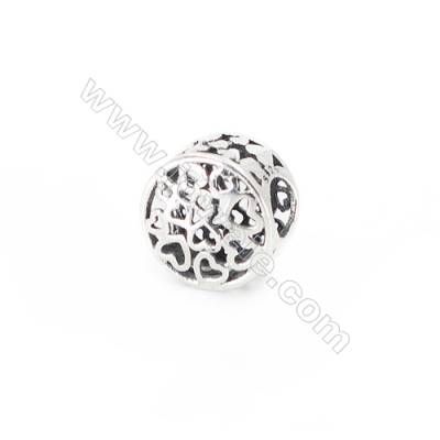Sterling Silver European Beads, x 1 piece, Heart & Hollow Cylinder, Size 10x7 mm, hole 4.5mm