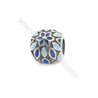Sterling Silver European Beads, x 1 piece, Blue Snowflake, diameter 10 mm, hole 4.5 mm