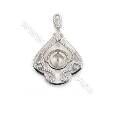 925 Sterling silver platinum plated zircon pendant, 27x33mm, x 2pcs, Tray 12mm