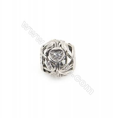Sterling Silver Cubic Zirconia European Beads, x 1 piece, Love & Vines, diameter 11 mm, hole 4.5 mm