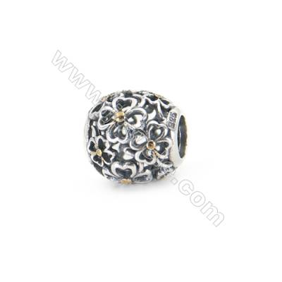 925 Sterling Silver European Beads, x 1 piece, Four-Leaf Clover & Hollow Sphere, diameter 11 mm, hole 4.5 mm