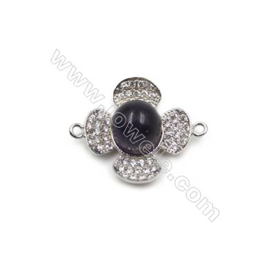 Sterling silver platium plated zircon pendant for women-D8003 18mm x 5pcs & disc diameter 9mm