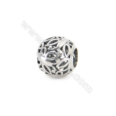 Sterling Silver Cubic Zirconia European Beads, x 1 piece, Butterfly & Spherical ,diameter 10 mm, hole 5 mm
