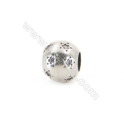 925 Sterling Silver Cubic Zirconia European Beads, x 1 piece, Star & Sphere, diameter 10 mm, hole 4.5 mm