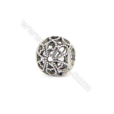925 Sterling Silver European Beads, x 1 piece, Floral & Hollow Sphere, diameter 10 mm, hole 4 mm