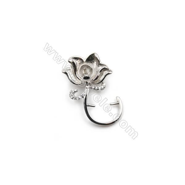 925 sterling silver platium plated CZ pendant, 16x26 mm, x 5 pcs, Tray 6mm