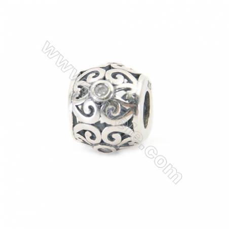 Sterling Silver Cubic Zirconia European Beads, x 1 piece, Chinese style ornament, Size 12x10 mm, hole 5 mm