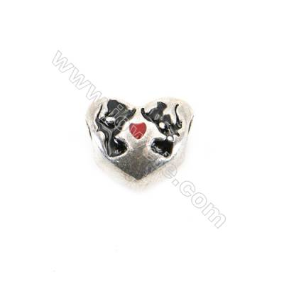 Sterling Silver European Beads, x 1 piece, Love Kiss, Size 11x10x7 mm, hole 4 mm