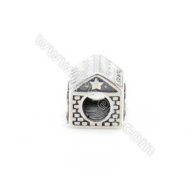 Sterling Silver Cubic Zirconia European Beads, x 1 piece, Christmas house, Size 10x9x9 mm, hole 4 mm