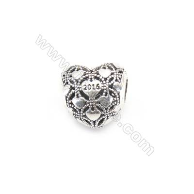 925 Sterling Silver European Beads, x 1 piece, Anniversary & Heart, Size 12x11x9 mm, hole 4.5 mm