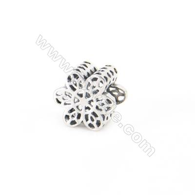 925 Sterling Silver European Beads, x 1 piece, Snowflake, Size 9x6 mm, hole 4.5 mm