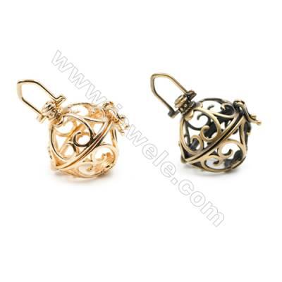Brass Pendant Brass Plated Gold (Gold Bronze) Spindrift  Diameter 21mm  Inner Diameter 19mm  10pcs/pack